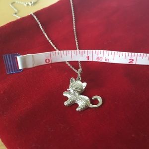 Adorable Sterling Silver Kitty Cat Necklace